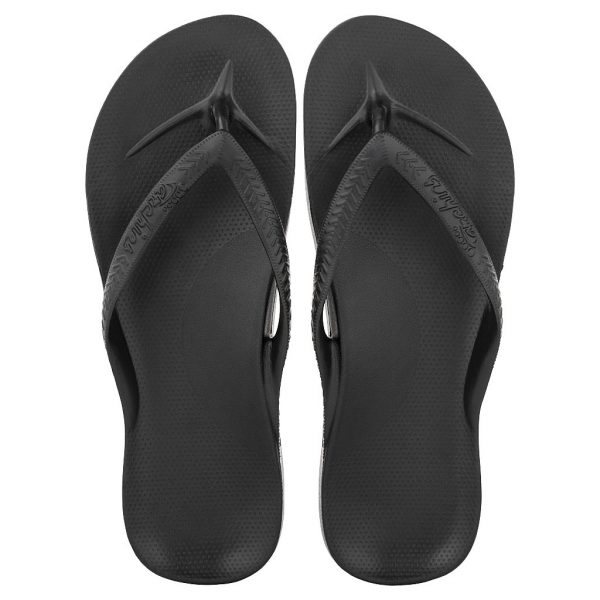 Archies_Arch_Support_Flip_Flops_Black_Single_Tone_top_down_view_birds_eye_2000x